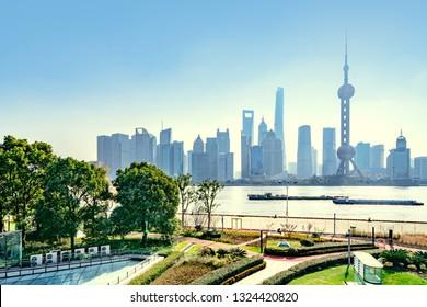 Shanghai skyline with modern urban skyscrapers, China