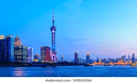 Shanghai skyline with modern urban skyscrapers at night,China