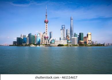 Shanghai skyline with modern urban skyscrapers, Shanghai China