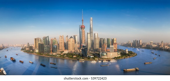 Shanghai skyline with modern urban skyscrapers, China, panoramic view at dusk, Asia building, asian city