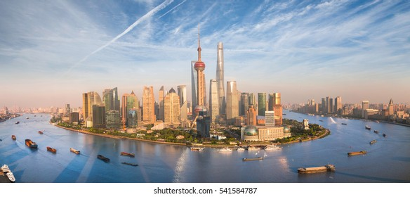 Shanghai skyline with modern urban skyscrapers, China, panoramic view at dusk, Asia building, asian cityn, new city side
