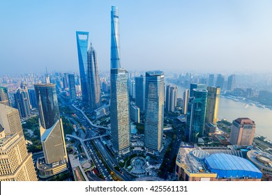Shanghai Skyline with its newly built  iconic skyscrapers.
