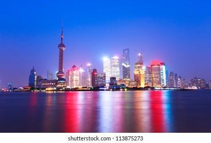 shanghai skyline at night,beautiful night view