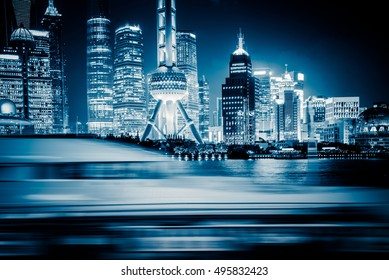 Shanghai skyline panorama in China.