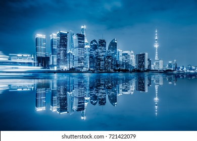 Shanghai skyline panorama,landmarks of Shanghai with Huangpu river in China.