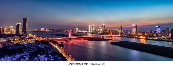 shanghai skyline panoramic view at dusk ,China