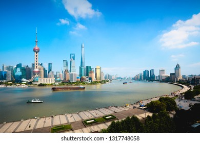 Shanghai skyline, Panoramic view of shanghai skyline and huangpu river, Shanghai China