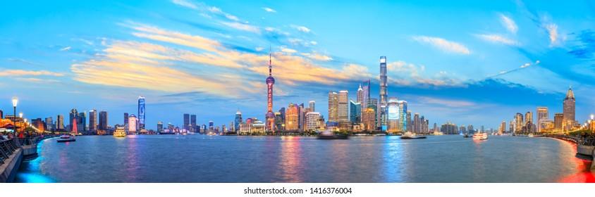 Shanghai skyline panoramic view at night,China