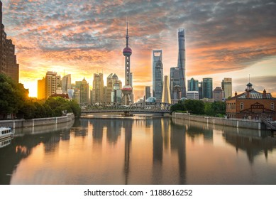 The Shanghai skyline as seen from the bund during an epic sunrise.