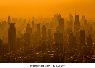 Shanghai skyline in smog.