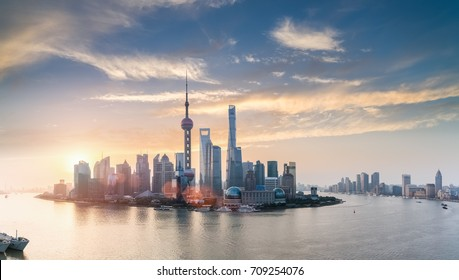 shanghai skyline in sunrise, huangpu river panorama