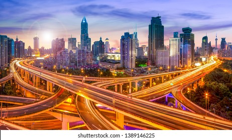 Shanghai skyline with traffic junction
