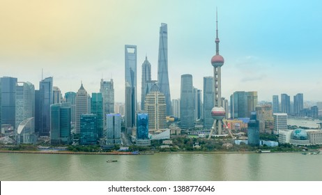 Shanghai skyscrapers with Huangpu river in the evening, China, Landmark view of the city