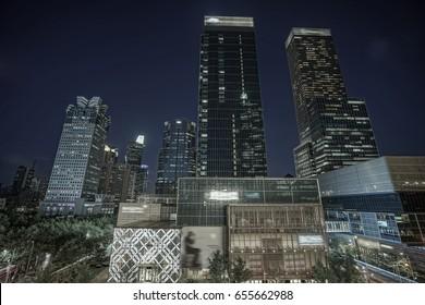 Shanghai skyscrapers at night, China.