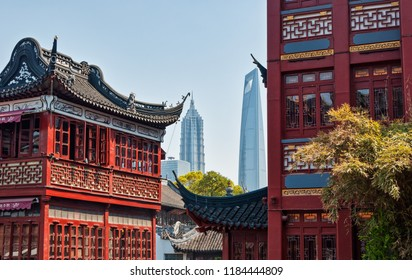 Shanghai Skyscrapers seen from Old City of Shanghai