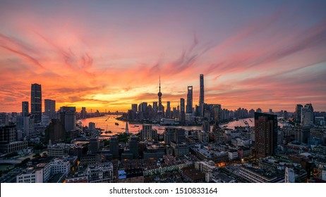Shanghai sunrise skyline shot in Shanghai tall buildings