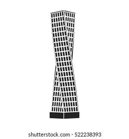 The Shanghai Tower icon in black style isolated on white background. Arab Emirates symbol stock bitmap illustration.