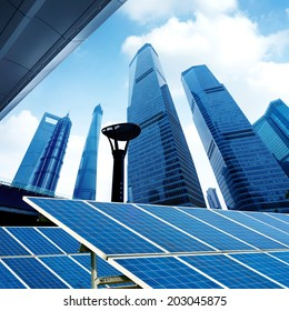 Shanghai urban landscape, Chinese landmarks and photovoltaic panels.