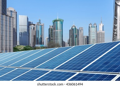 Shanghai urban landscape, landmarks and solar panels