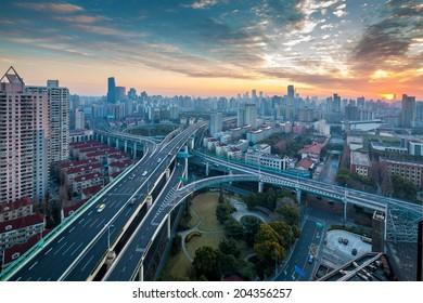 The Shanghai viaduct, sunrise and traffic