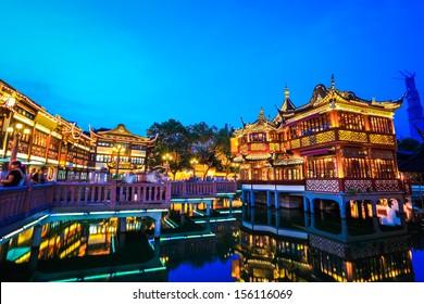 shanghai yuyuan garden at night ,China