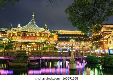 shanghai yuyuan at night,classic garden architecture of traditional pavilions,China.