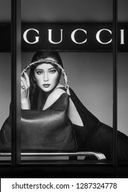 SHANGHAI-AUGUST 22, 2014. Window of a Gucci outlet. The luxury goods sales will grow 20%-22% in mainland China in 2018, at least doubling the rate of growth seen anywhere else in the world.