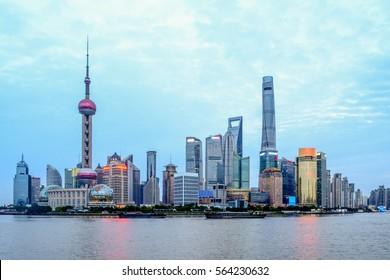 SHANGHAI,CHINA 22 november 2016 - evening scenic view at the bund