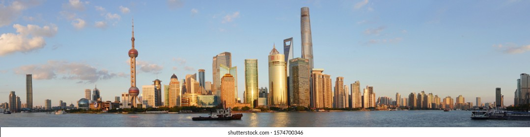 Shanghai/China 31 oct 2019: Panorama view of the bund shanghai during sunset time. The Bund or Waitan is a waterfront area in central Shanghai.