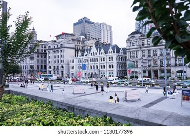 Shanghai/China: 6th July 2018- The Bund is a waterfront area in central Shanghai.  Every year it was visited by thousands of tourist to witness the breathtaking scenery.