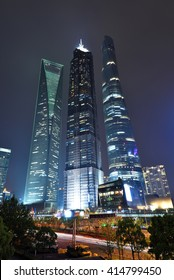 Shanghai,China - Apr 22,2016:Shanghai skyscrapers scenery of Lujiazui Financial District at night,Shanghai,China.