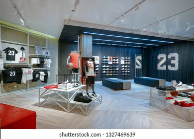 SHANGHAI,CHINA - AUG. 2018 : Air Jordan clothing and shoes store at SHANGHAI shopping mall,Air Jordan is a brand of basketball shoes and athletic clothing produced by Nike.