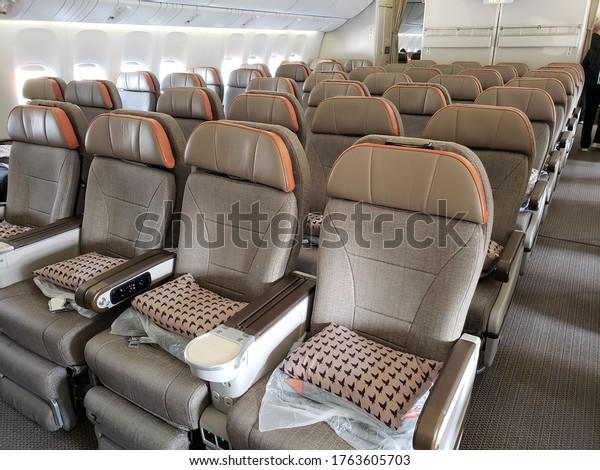 Shanghai/China - December 2019: Boeing 777 EVA Air Premium Economy Class Seats