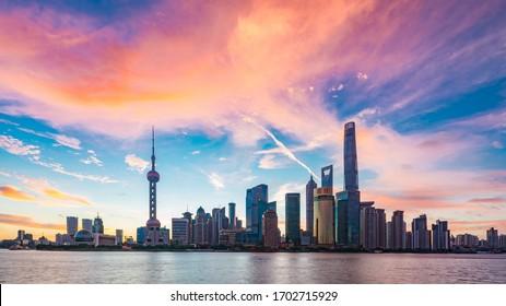 shanghai/china- Jul  15 2018 : Lujiazui city architectural scenery in Shanghai, China