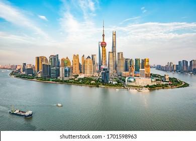 shanghai/china- Jun 2 2018 : Lujiazui city architectural scenery in Shanghai, China