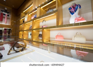 Shanghai,CHINA - JUN.18, 2016: inside the Louis Vuitton store. Louis Vuitton is a French fashion house, one of the world's leading international fashion houses