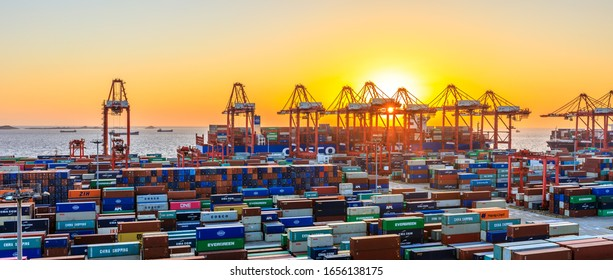 Shanghai,China - November 15,2019:Shanghai Yangshan Deepwater Port Container Cargo Terminal,Shanghai has become one of the world's largest container port.