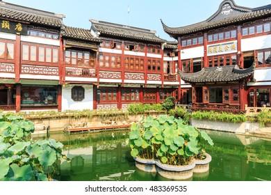 Shanghai,China - on September 2,2016:Traditional commercial street scene in Yuyuan Garden,Yuyuan Garden is a famous commercial street in Shanghai.