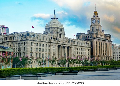 Shanghai/China - September 16, 2017: Colonial Buildings on Bund at Sunrise