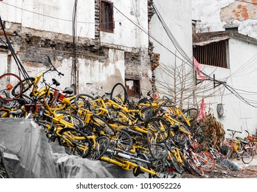 Shanghai/China/02.01.2018: Broken Bicycles dump
