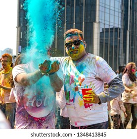Shanghai/China-03/23/2019: Happy Indian Holi  Festival in Shanghai