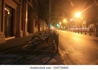 Shanghai/China-2017.8.16: Waitan district night retro view.