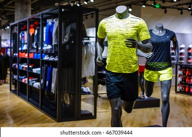 Shanghai.China-AUG,9,2016;nike store interior display.Famous sports fashion brands worldwide and it is one of the world's largest suppliers of athletic shoes and apparel.It's the first brand in China.