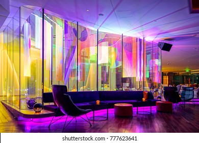 SHANGHAI,CHINA-AUGUST 20,2017: W Hotel shanghai lounge interior in the bund in shanghai China. high fashion design for lounge interior.