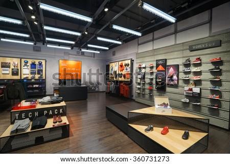 2645c74ae7a2 Shanghai China DEC 232015 Nike Store Interior Famous Sports Fashion ...