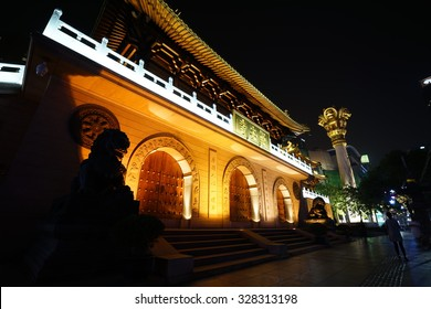 SHANGHAI,CHINA-Dec.9,2015: Traditional Chinese Temple at night in Shanghai city.