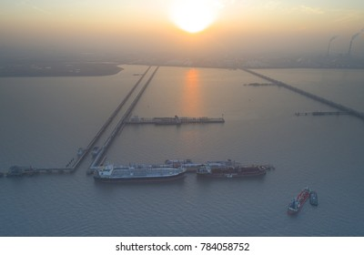 Shanghai,China-December 22,2017:Aerial view of oil tankers moored at a oil storage terminal,Taicang,China