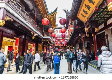 SHANGHAI,CHINA-DECEMBER 31,2019: Many tourists around the Chenghuangmiao Old Street or Shanghai Old City God Temple ,Is the must see attraction when