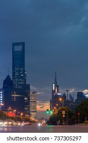 SHANGHAI,CHINA-JULY 27,2017 : Century avenue road in the evening situated in Pudong, twilight time