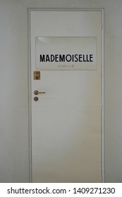 Shanghai/China-May 2019: a white door with sign of Mademoiselle Privé in 31 RUE CAMBON Paris. It is a replicate door of Coco Chanel's studio. Origin of Chanel. In an art exhibition hold by Chanel.